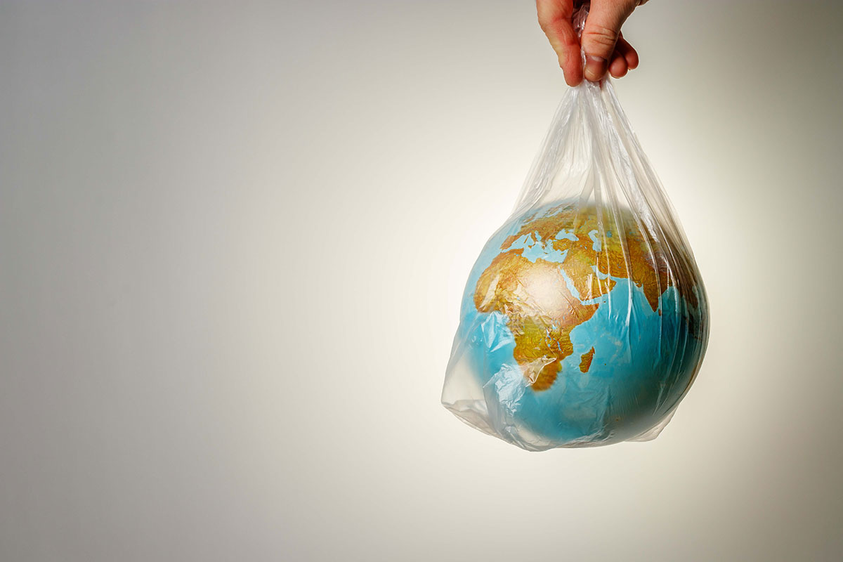 hand carrying plastic bag with globe inside