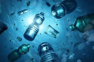 Plastic bottles in ocean causing Microplastic problem