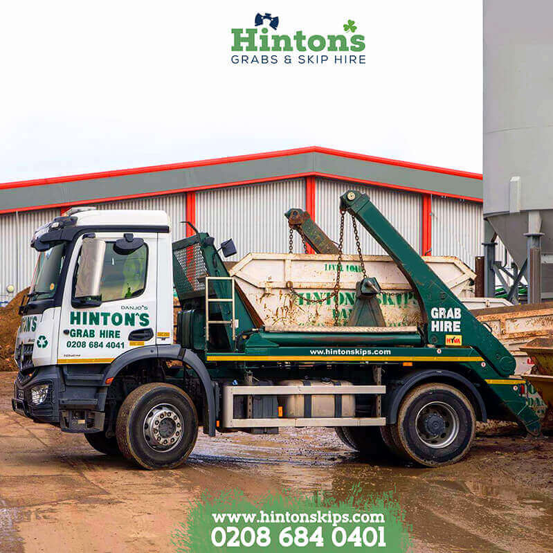 Skip hire lorry in London